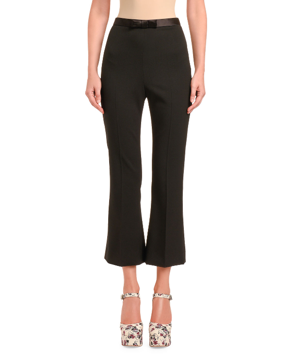 Miu Miu Cady Flare Pants With Bow In Black
