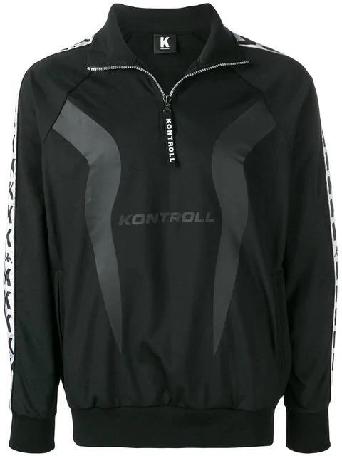 Kappa Logo Stripe Pullover Track Jacket In Black