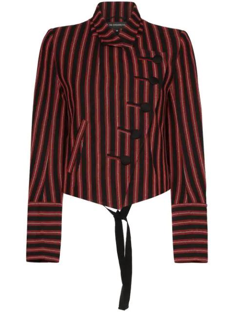 Ann Demeulemeester Striped Asymmetric Blazer In Black