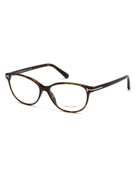c8d597462ae7 Tom Ford cat-eye optical frames in acetate. Lens bridge temple (in mm)   55-14-140. Clear