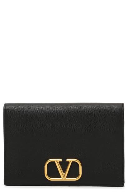 Valentino Garavani Medium V-logo Leather Pouch In Nero