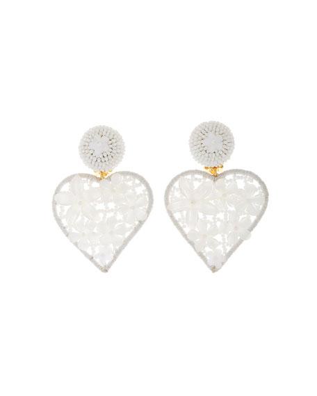 Oscar De La Renta Embellished Heart Clip Earrings In White