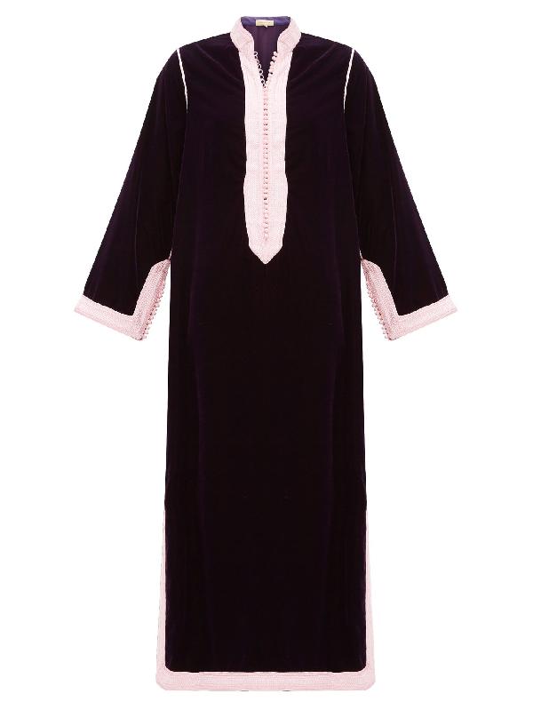 Muzungu Sisters Alia Woven-trim Velvet Tunic Dress In Dark Pink