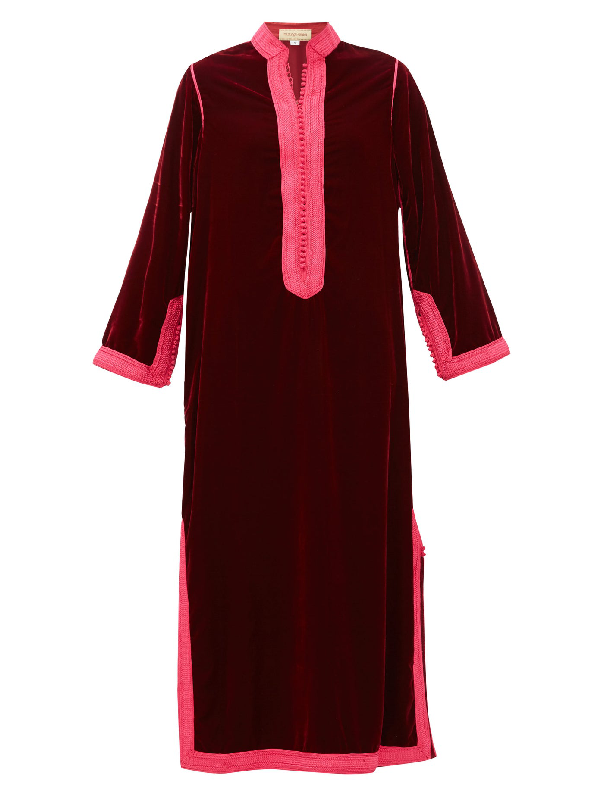 Muzungu Sisters Alia Woven-trim Velvet Tunic Dress In Dark Red