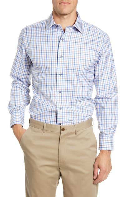 Lorenzo Uomo Trim Fit Check Dress Shirt In Light Blue/ Tan