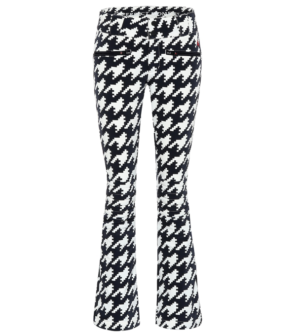 Perfect Moment Aurora Houndstooth Flared Shell Ski Trousers In Black