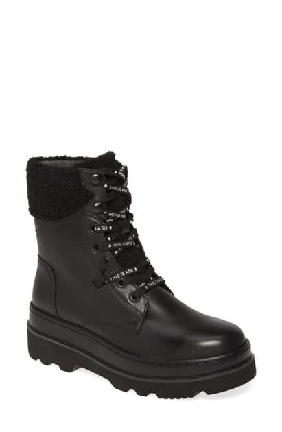 Ash Women's Siberia Platform Combat Boots In Mustang Black/ Curly Faux Fur