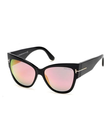 1ac51f5d7afcd Tom Ford Tf 371 01Z Anoushka Shiny Black Cat-Eye Sunglasses In Black/Pink