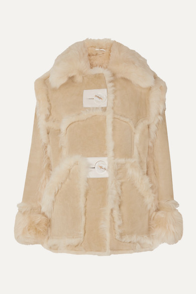 Acne Studios Neutral Women's Lavina Shearling Leather Jacket In Neutrals