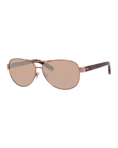 95c75f9aa4f8 Kate Spade Dalia Aviator Sunglasses In Rose Gold   ModeSens
