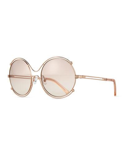 450219f626c9 ChloÉ Isidora Ce 122S Oval Oversized Metal Women. CHLOÉ. Isidora Ce 122S  Oval Oversized Metal Women s Sunglasses in Rose Gold