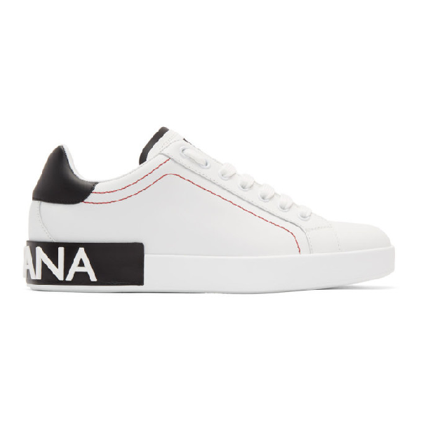 Dolce & Gabbana Portofino White & Black Leather Sneakers In 8b926