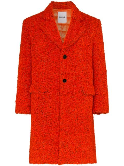 Koché Textured Single-breasted Coat In Red