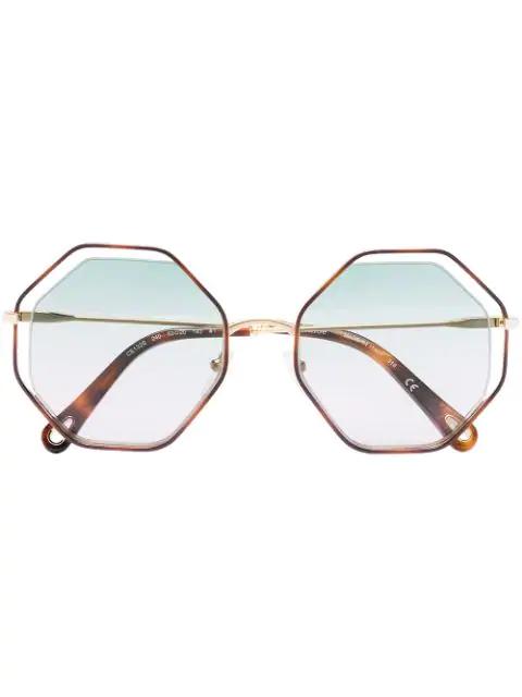 Chloé Ce132s Poppy Irregular Sunglasses In Brown