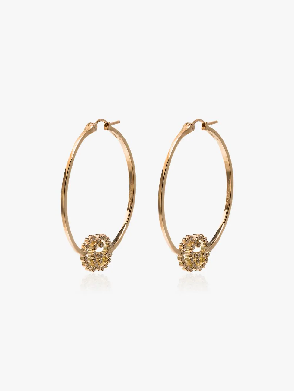 Gucci 18kt Yellow Gold Diamond-embellished Gg Logo Hoop Earrings