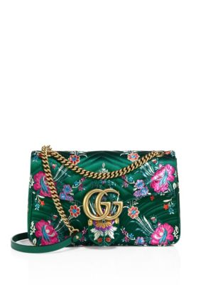 784c4aae0 Gucci Jumbo Gg Marmont Floral-Print MatelassÉ Chevron Leather Chain Shoulder  Bag In Green