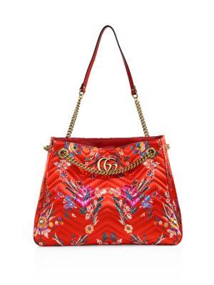 1d94da77ba3a15 Gucci Medium Gg Marmont MatelassÉ Floral Jacquard Chain Shoulder Bag In Red