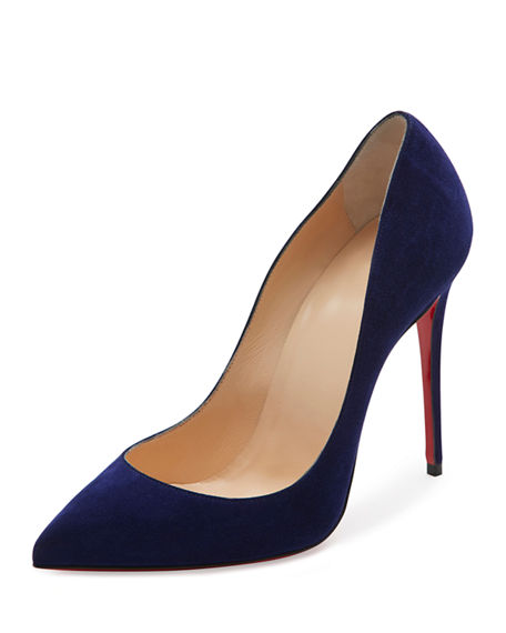 14c585f1b88 Pigalle Follies Suede Red Sole Pump, Blue in Encre