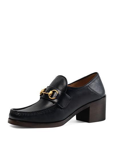 444f74c5fb8 Gucci Vegas Heeled Horsebit Loafers In Black In 1000 Black