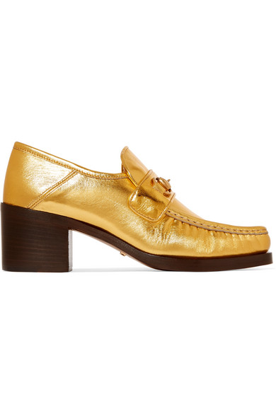 Gucci Horsebit-Detailed Collapsible-Heel Metallic Leather Loafers