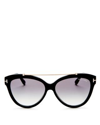 67b6e7f8a2ac Tom Ford Livia Cat-Eye Brow-Bar Sunglasses In Black Pattern