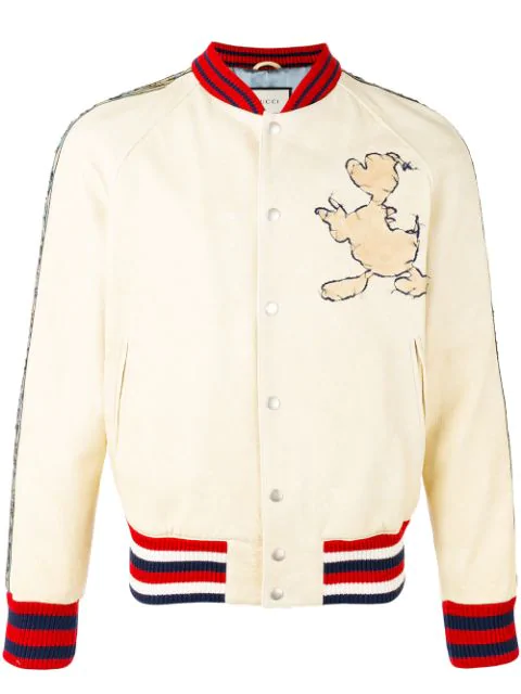af2a7f616a100 Gucci Disney Embroidered Textured-Leather Bomber Jacket In Neutrals ...