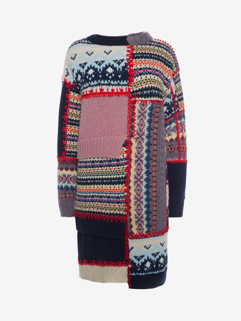 c132a39607f Alexander Mcqueen Patchwork Wool And Cashmere-Blend Sweater In Navy ...