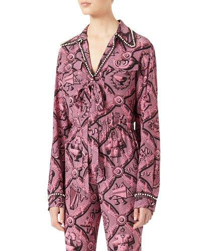 c764fe8cd Gucci Faux Pearl-Embellished Printed Silk Crepe De Chine Blouse In Pink