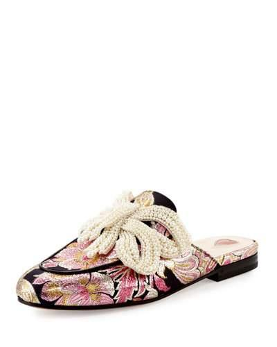 b1319da2809 Gucci Princetown Embellished Brocade Slippers In Multicolor