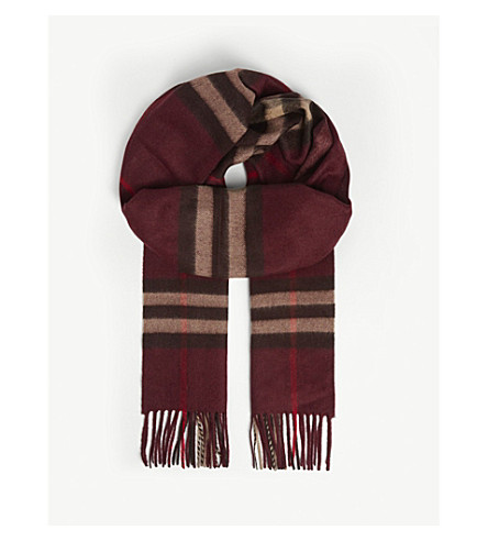 Burberry Men's Cashmere Giant Icon Scarf, Deep Claret In Red