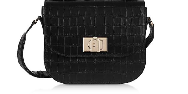 Furla Black Croco Embossed Leather 1927 S Crossbody Bag 23