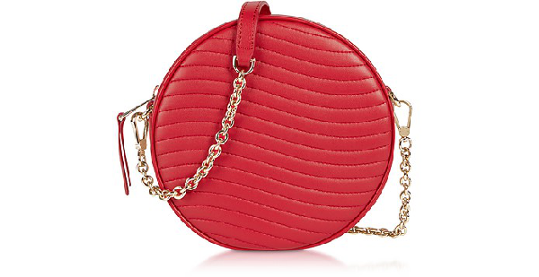 Furla Swing Mini Round Crossbody Bag In Strawberry Red