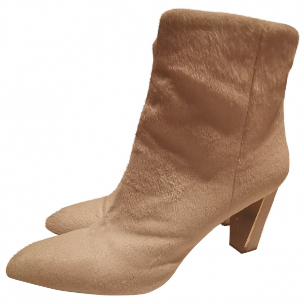 Luis Onofre Beige Pony-style Calfskin Ankle Boots