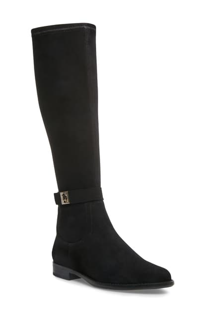 Kate Spade Verona Knee High Boot In Black Suede