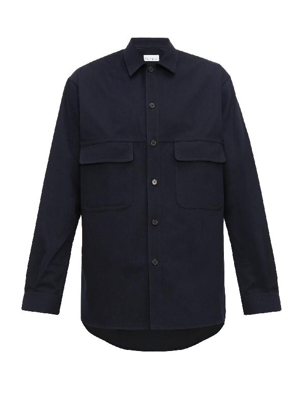 Raey Chest-Pocket Cotton Shirt In Navy
