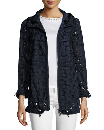 Madeleine Hooded Floral Lace Jacket, Navy