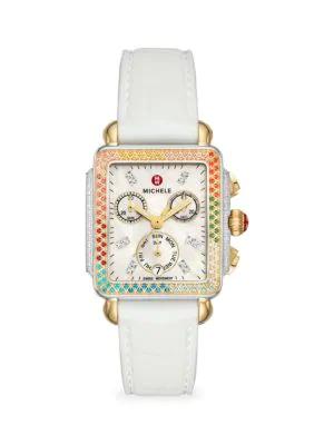 Michele Watches Women's Deco Madison Diamond Carousel Two-tone Multicolor Topaz & Silicone Strap Chronograph Watch In White