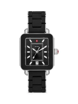 Michele Watches Women's Deco Sport Two-tone Black Wrapped Silicone & Sterling Silver Bracelet Watch