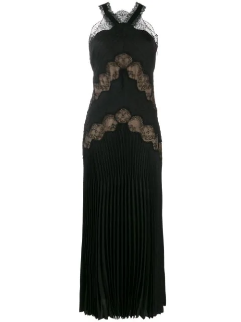 Fendi Lace Insert Pleated Gown In F0gme-black