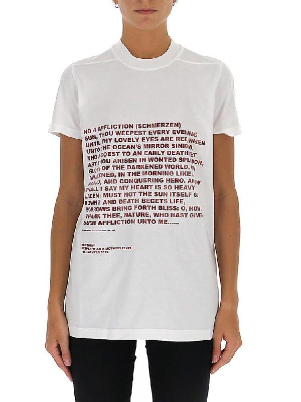 Rick Owens Drkshdw Poem Print Crew Neck T In White