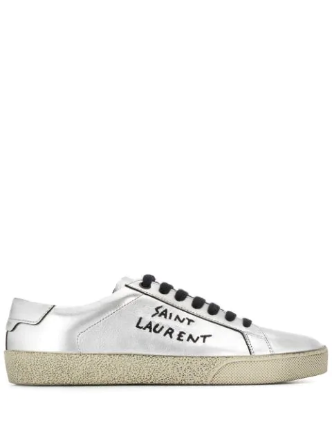 Saint Laurent Court Classic Sl/06 Embroidered Sneakers In Used-look Metallic Leather In Silver