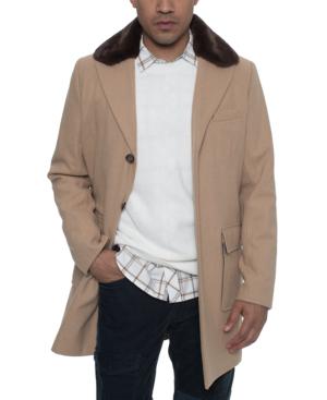 Sean John Men's Single Breasted Walking Coat With Detachable Faux Mink Collar In Cognac