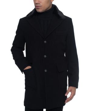 Sean John Men's Single Breasted Walking Coat With Detachable Faux Mink Collar In Black
