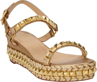 buy popular ec802 0c605 Cataclou 60 Embellished Patent-Leather Wedge Espadrille Sandals in Gold