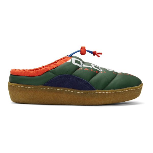 Polo Ralph Lauren Green Polo Sport Myles Puffer Loafers In Greencolblk