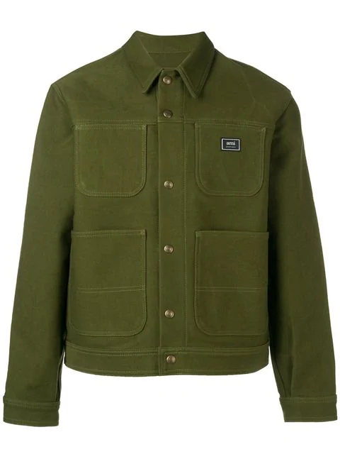 Ami Alexandre Mattiussi Ami Canvas Worker Jacket In 300 Vert