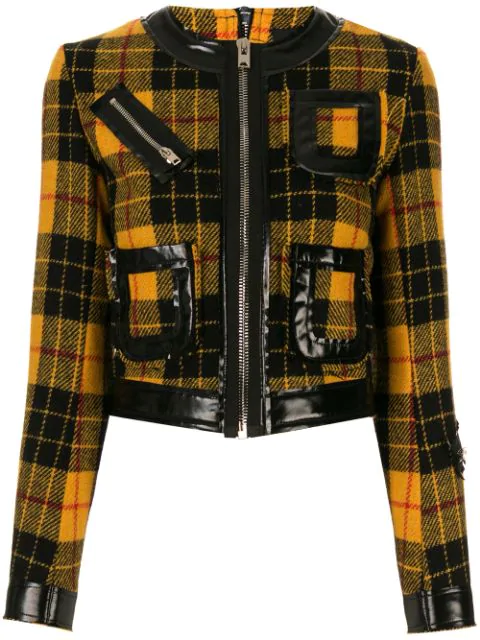 Yang Li Check Pattern Fitted Jacket In Yellow Black