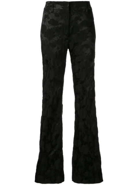 Ann Demeulemeester Floral Jacquard Trousers In Black