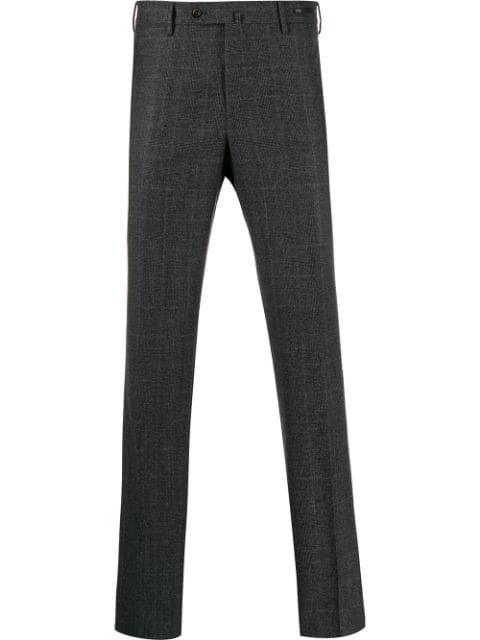 Pt01 Checked Slim-fit Trousers In Grey