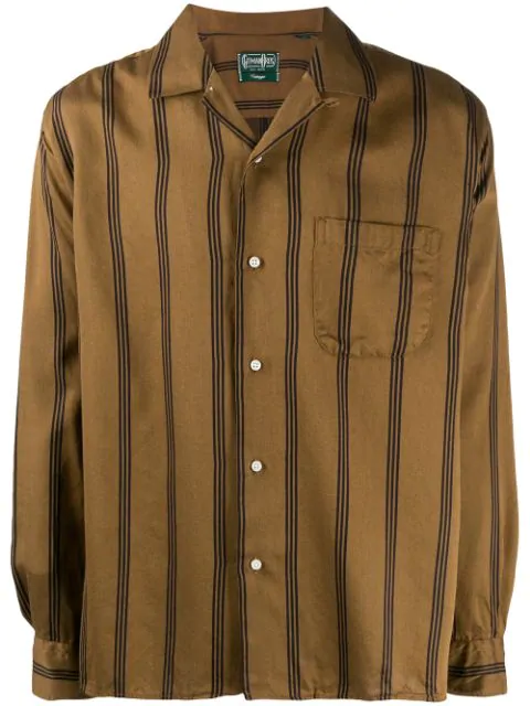 Gitman Vintage Regimental Satin Stripe Camp Shirt In Brown